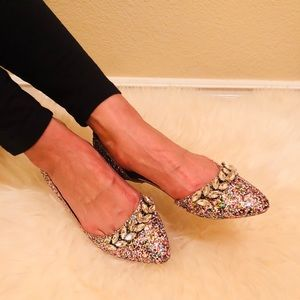 Shoes - Office ready Embellished Glitter Flat Ballet Shoes
